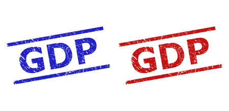 Blue and red GDP seal stamps on a white background. Flat vector scratched seal stamps with GDP message inside two parallel lines. Watermarks with grunged style.  イラスト・ベクター素材