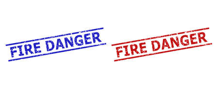 Blue and red FIRE DANGER stamps on a white background. Flat vector distress seal stamps with FIRE DANGER caption between two parallel lines. Rubber imitations with distress texture.