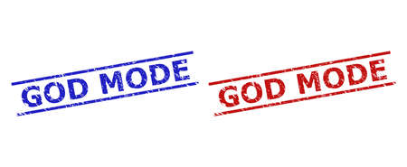 Blue and red GOD MODE stamps on a white background. Flat vector distress watermarks with GOD MODE phrase between two parallel lines. Watermarks with corroded surface.