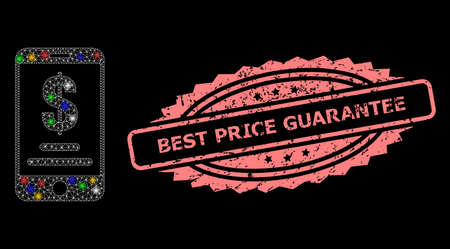 Glare mesh net mobile dollar account with light spots, and Best Price Guarantee dirty rosette stamp seal. Illuminated vector mesh created from mobile dollar account pictogram. Illustration
