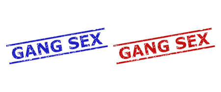 Blue and red GANG SEX watermarks on a white background. Flat vector scratched watermarks with GANG SEX title between parallel lines. Rubber imitations with scratched style.