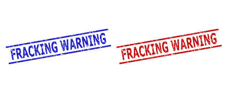 Blue and red FRACKING WARNING seals on a white background. Flat vector textured seals with FRACKING WARNING message inside parallel lines. Rubber imitations with grunged surface.
