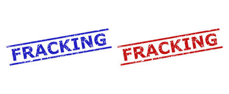 Blue and red FRACKING watermarks on a white background. Flat vector scratched watermarks with FRACKING message inside 2 parallel lines. Watermarks with scratched style.