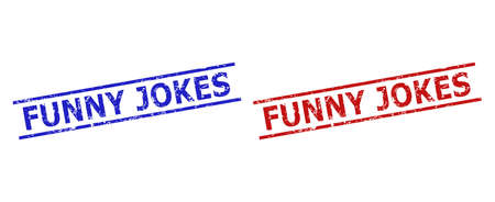 Blue and red FUNNY JOKES watermarks on a white background. Flat vector scratched seal stamps with FUNNY JOKES title inside two parallel lines. Watermarks with scratched style. Vector Illustration