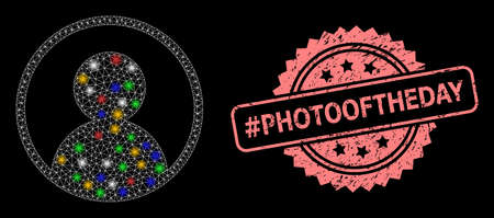 Bright mesh web user portrait with light spots, and #Photooftheday dirty rosette seal print. Illuminated vector constellation created from user portrait pictogram.