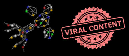 Bright mesh network virus replication with light spots, and Viral Content corroded rosette seal print. Illuminated vector constellation created from virus replication pictogram.