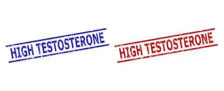 Blue and red HIGH TESTOSTERONE seal stamps on a white background. Flat vector scratched seal stamps with HIGH TESTOSTERONE phrase inside 2 parallel lines. Watermarks with scratched texture.