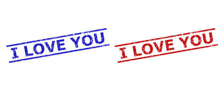 Blue and red I LOVE YOU watermarks on a white background. Flat vector scratched watermarks with I LOVE YOU message between 2 parallel lines. Imprints with scratched texture.