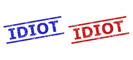 Blue and red IDIOT seal stamps on a white background. Flat vector scratched seal stamps with IDIOT phrase between parallel lines. Rubber imitations with grunged style.