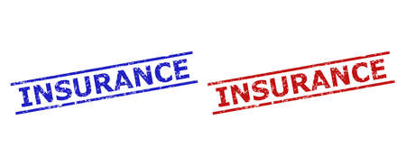 Blue and red INSURANCE seal stamps on a white background. Flat vector distress seals with INSURANCE text inside 2 parallel lines. Rubber imitations with distress texture.