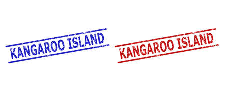 Blue and red KANGAROO ISLAND stamps on a white background. Flat vector grunge watermarks with KANGAROO ISLAND text between parallel lines. Watermarks with grunge texture.  イラスト・ベクター素材
