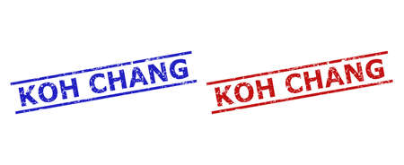 Blue and red KOH CHANG seal stamps on a white background. Flat vector grunge stamps with KOH CHANG text inside 2 parallel lines. Imprints with corroded surface. 矢量图像