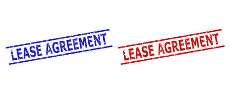Blue and red LEASE AGREEMENT stamp seals on a white background. Flat vector grunge seals with LEASE AGREEMENT phrase between 2 parallel lines. Watermarks with grunge surface.