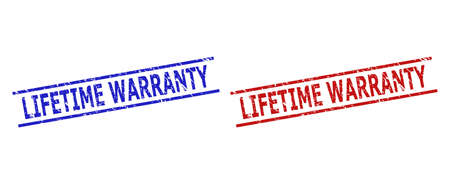 Blue and red LIFETIME WARRANTY seal stamps on a white background. Flat vector scratched seal stamps with LIFETIME WARRANTY phrase between 2 parallel lines. Imprints with unclean style.