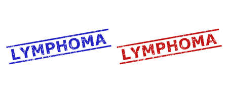 Blue and red LYMPHOMA seal stamps on a white background. Flat vector distress seal stamps with LYMPHOMA phrase inside 2 parallel lines. Imprints with distress surface.