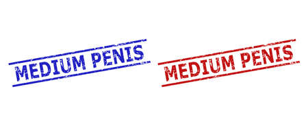 Blue and red MEDIUM PENIS watermarks on a white background. Flat vector scratched watermarks with MEDIUM PENIS phrase inside parallel lines. Watermarks with unclean surface.