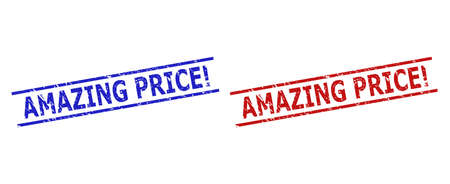 Blue and red AMAZING PRICE! watermarks on a white background. Flat vector textured watermarks with AMAZING PRICE! phrase inside parallel lines. Watermarks with grunge surface.