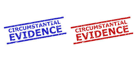 Blue and red CIRCUMSTANTIAL EVIDENCE stamps on a white background. Flat vector grunge seal stamps with CIRCUMSTANTIAL EVIDENCE message between parallel lines. Watermarks with grunge surface. Illusztráció