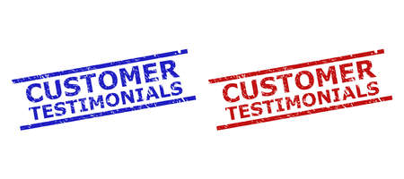 Blue and red CUSTOMER TESTIMONIALS seal stamps on a white background. Flat vector textured seal stamps with CUSTOMER TESTIMONIALS title inside two parallel lines. Imprints with unclean texture.