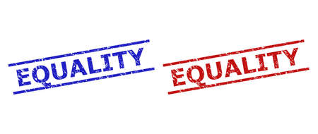 Blue and red EQUALITY stamp seals on a white background. Flat vector scratched seals with EQUALITY phrase inside 2 parallel lines. Watermarks with scratched style.