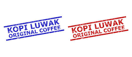 Blue and red KOPI LUWAK ORIGINAL COFFEE seal stamps on a white background. Flat vector textured seal stamps with KOPI LUWAK ORIGINAL COFFEE message between two parallel lines.