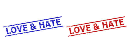 Blue and red LOVE & HATE stamp seals on a white background. Flat vector distress seals with LOVE & HATE message between 2 parallel lines. Watermarks with distress style.