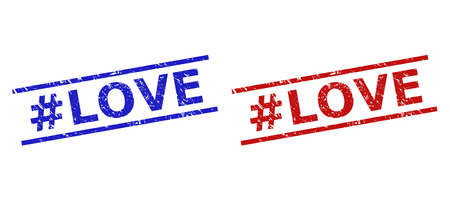 Blue and red #LOVE watermarks on a white background. Flat vector distress watermarks with #LOVE text inside parallel lines. Watermarks with scratched texture.