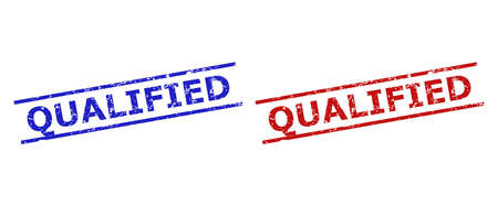 Blue and red QUALIFIED seal stamps on a white background. Flat vector scratched seal stamps with QUALIFIED phrase inside parallel lines. Rubber imitations with unclean style.