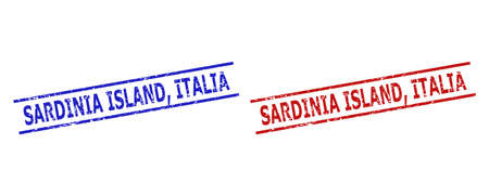 Blue and red SARDINIA ISLAND, ITALIA stamps on a white background. Flat vector textured seal stamps with SARDINIA ISLAND, ITALIA title between 2 parallel lines. Watermarks with corroded style.