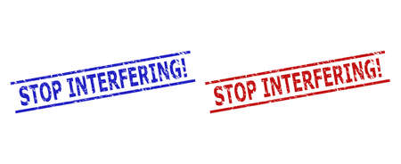Blue and red STOP INTERFERING! seals on a white background. Flat vector distress seals with STOP INTERFERING! phrase inside two parallel lines. Rubber imitations with scratched surface.