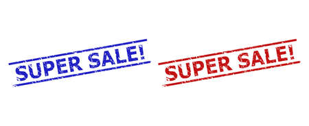 Blue and red SUPER SALE! seals on a white background. Flat vector textured seals with SUPER SALE! caption between two parallel lines. Imprints with unclean surface.