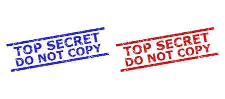 Blue and red TOP SECRET DO NOT COPY seal stamps on a white background. Flat vector grunge seal stamps with TOP SECRET DO NOT COPY message between parallel lines. Watermarks with grunged texture.