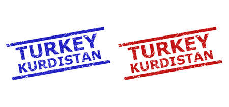 Blue and red TURKEY KURDISTAN seal stamps on a white background. Flat vector distress seal stamps with TURKEY KURDISTAN phrase inside parallel lines. Imprints with grunged style.