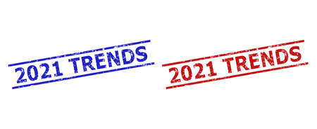 Blue and red 2021 TRENDS watermarks on a white background. Flat vector distress stamps with 2021 TRENDS caption between two parallel lines. Watermarks with scratched surface.