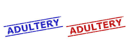 Blue and red ADULTERY watermarks on a white background. Flat vector distress watermarks with ADULTERY title between two parallel lines. Watermarks with unclean style.  イラスト・ベクター素材