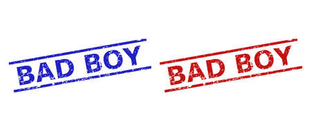 Blue and red BAD BOY stamp seals on a white background. Flat vector scratched stamps with BAD BOY title between 2 parallel lines. Rubber imitations with scratched style.