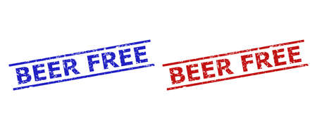Blue and red BEER FREE seal stamps on a white background. Flat vector distress stamps with BEER FREE message between two parallel lines. Rubber imitations with distress style.