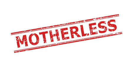 Red MOTHERLESS watermark on a white background. Flat vector scratched watermark with MOTHERLESS title between double parallel lines. Watermark with distress style.