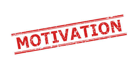 Red MOTIVATION seal stamp on a white background. Flat vector scratched seal stamp with MOTIVATION phrase between double parallel lines. Watermark with distress style.