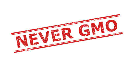Red NEVER GMO seal stamp on a white background. Flat vector scratched seal with NEVER GMO caption between double parallel lines. Imprint with scratched surface.