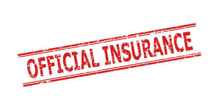 Red OFFICIAL INSURANCE watermark on a white background. Flat vector textured watermark with OFFICIAL INSURANCE title between double parallel lines. Watermark with grunged texture.