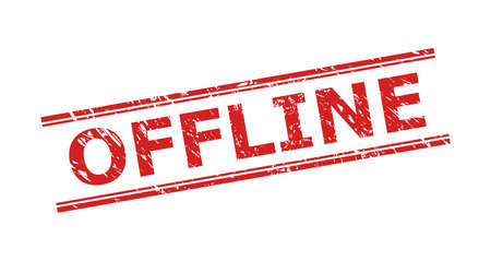 Red OFFLINE seal stamp on a white background. Flat vector distress seal stamp with OFFLINE text between double parallel lines. Watermark with scratched surface.