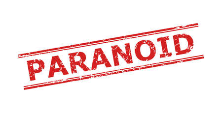 Red PARANOID seal stamp on a white background. Flat vector grunge seal with PARANOID text between double parallel lines. Imprint with grunge surface.