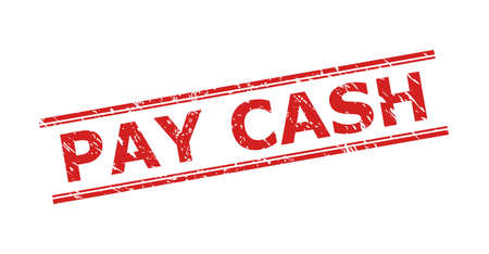 Red PAY CASH stamp seal on a white background. Flat vector distress seal stamp with PAY CASH phrase inside double parallel lines. Watermark with distress surface.
