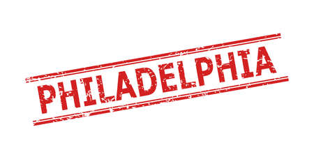 Red PHILADELPHIA stamp on a white background. Flat vector scratched seal stamp with PHILADELPHIA caption between double parallel lines. Rubber imitation with scratched surface.