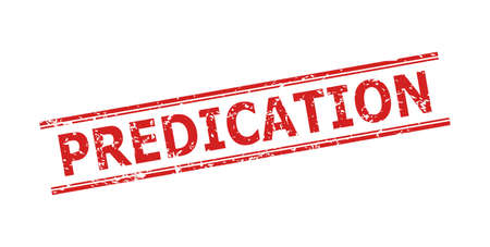 Red PREDICATION seal on a white background. Flat vector scratched seal with PREDICATION phrase inside double parallel lines. Watermark with scratched style.