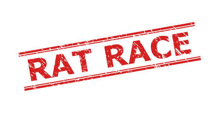 Red RAT RACE stamp seal on a white background. Flat vector distress stamp with RAT RACE title inside double parallel lines. Imprint with distress surface.