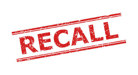Red RECALL seal stamp on a white background. Flat vector textured seal stamp with RECALL caption inside double parallel lines. Watermark with unclean style.