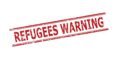 Red REFUGEES WARNING stamp seal on a white background. Flat vector distress seal stamp with REFUGEES WARNING phrase between double parallel lines. Rubber imitation with unclean surface.