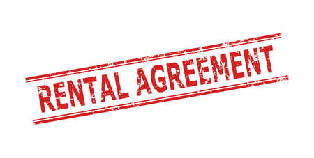 Red RENTAL AGREEMENT stamp seal on a white background. Flat vector distress seal with RENTAL AGREEMENT message between double parallel lines. Imprint with distress style.